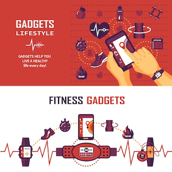 Fitness monitoring banners
