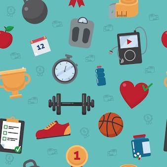 Fitness naadloze patroon. vector achtergrond met fitnessapparatuur