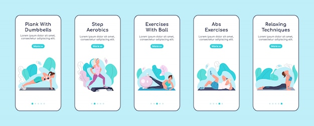 Fitness oefeningen onboarding mobiele app scherm platte sjabloon