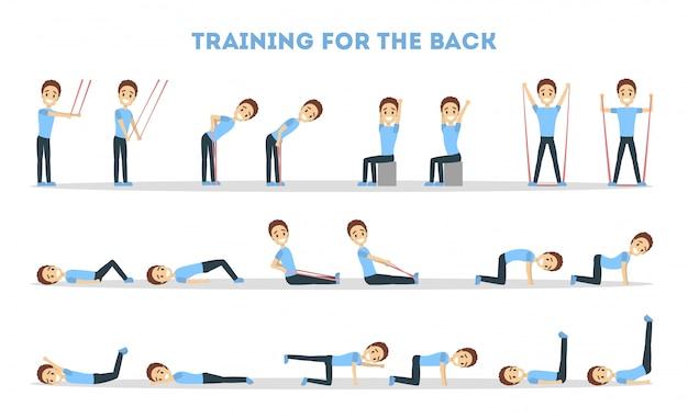Fitness oefeningen set. mens die geschiktheid in gymnastiek voor rug doet.
