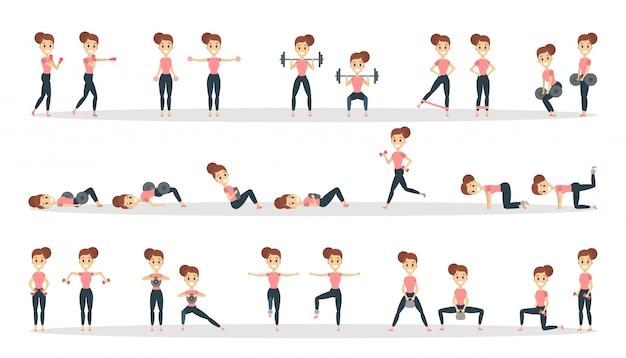 Fitness oefeningen set. vrouw die geschiktheid in gymnastiek doet.