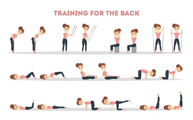 Fitness oefeningen set. vrouw die geschiktheid in gymnastiek voor rug doet.