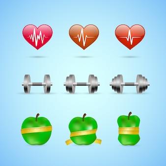 Fitness oefeningen vooruitgang pictogrammen set van hartslagsterkte en slankheid geïsoleerde vector illustratie