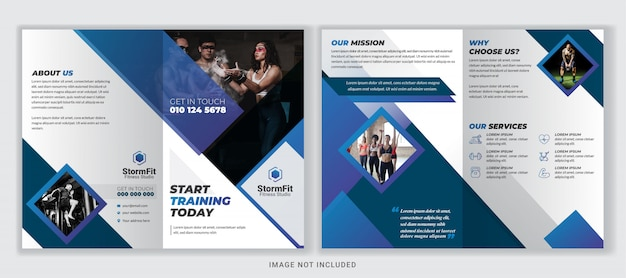 Fitness of gym bi-fold brochure ontwerpsjabloon