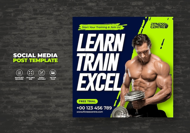 Fitness of gym social media banner of square sport studio flyer sjabloon