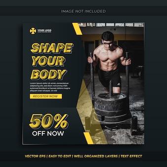 Fitness of sportschool social media banner.