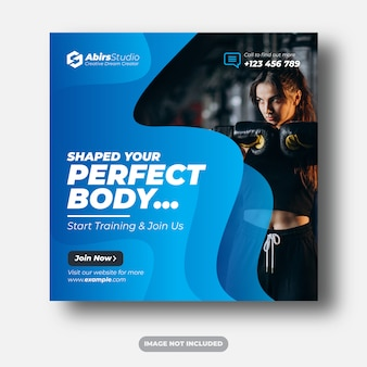 Fitness of sportschool sociale media-banner