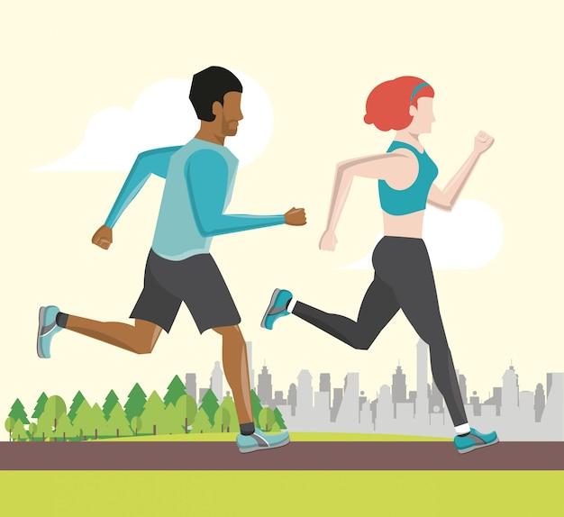Fitness paar vrienden lopen