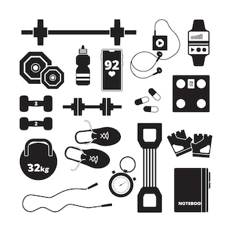Fitness pictogram. sport gezonde symbolen aerobics silhouetten voeding vector iconen. fitnessapparatuur, halter voor bodybuilding illustratie