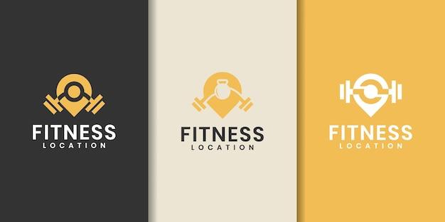 Fitness pin sjabloon logo ontwerp collectie - vector