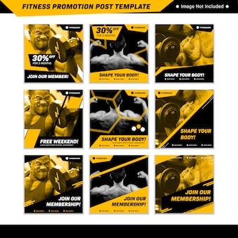 Fitness promotie sociale media instagram postsjabloon in geel zwart mannelijke sportieve stijl