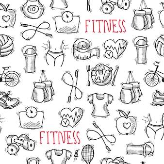 Fitness schets zwart en wit naadloze patroon