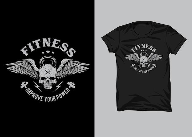 Fitness skull kettlebell voor t-shirtontwerp