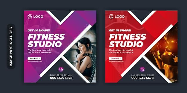Fitness sociale media plaatsen banner