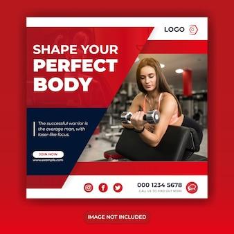 Fitness sociale media plaatsen sjabloon voor spandoek
