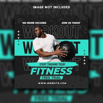 Fitness sociale media post instagram banner sjabloonontwerp