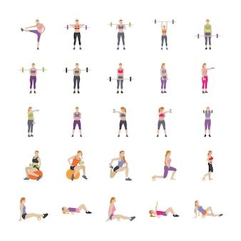 Fitness spellen plat pictogrammen