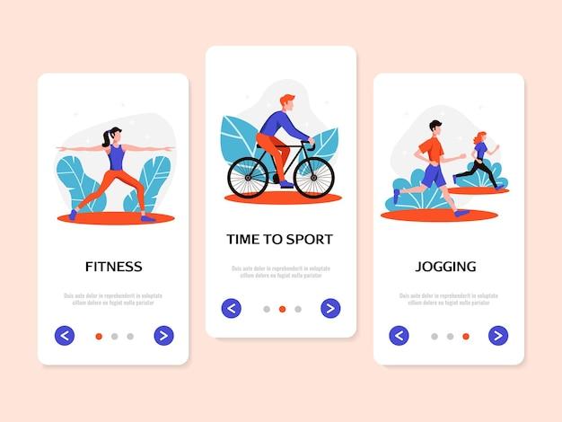 Fitness sport actieve levensstijl profiteert van vlakke verticale spandoeken met joggen en fietsen