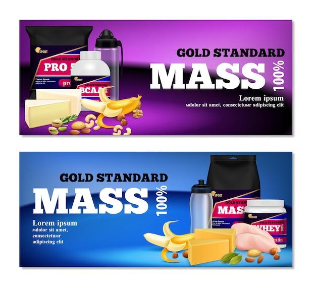Fitness sport eiwitrijke voeding natuurlijke voedingssupplementen producten reclame 2 horizontale realistische banners geïsoleerd