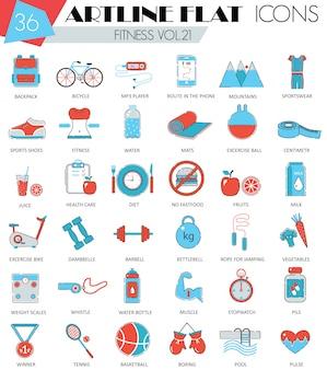 Fitness sport en gezondheid platte lijn pictogrammen instellen