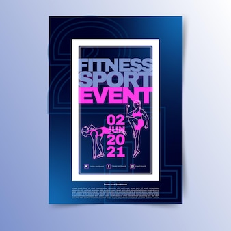 Fitness sport evenement briefpapier sjabloon