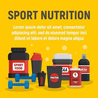 Fitness sport voeding sjabloon, vlakke stijl