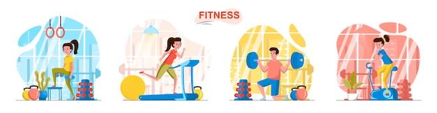 Fitness sportclubscènes in vlakke stijl