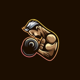Fitness sportschool logo premium vector