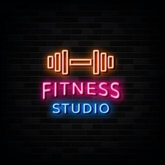 Fitness studio neon teken vector