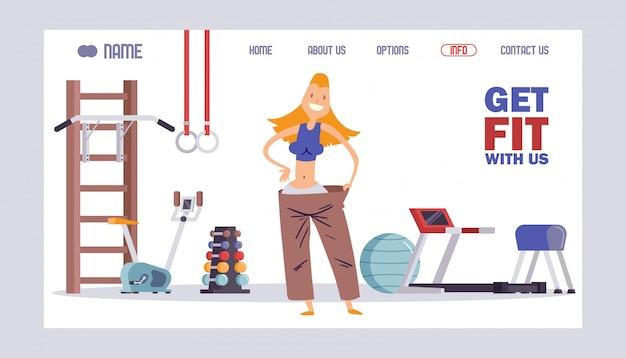 Fitness studiowebsite, concept van de landingpagina van de sportschool