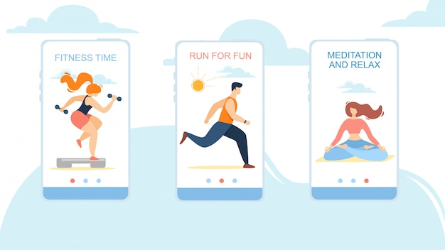 Fitness-tijd, run for fun, meditation and relax mobiele app-pagina onboard screen set