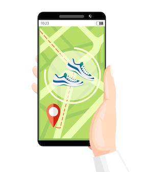 Fitness tracker concept. smartphone mobiele app wijst de weg. polsbandje met stappenteller. illustratie op achtergrondstructuur. plaats voor uw tekst. website pagina