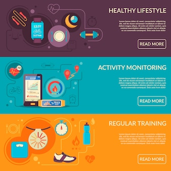 Fitness tracker horizontale banners set