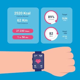 Fitness tracker met plat ontwerp