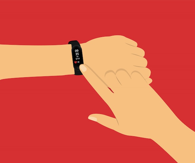 Fitness tracker. slim horloge bij de hand. concept met handen op rood.