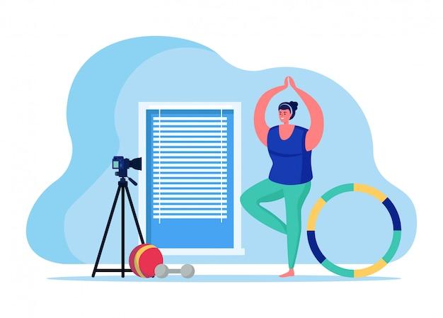 Fitness trainer blog online streaming, vrouwelijke karakter sport internet omroep host geïsoleerd op witte, vlakke afbeelding.