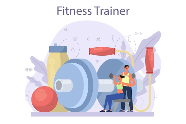 Fitness trainer concept in plat ontwerp