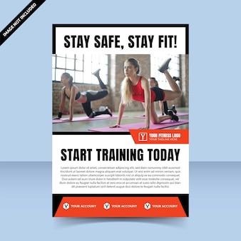 Fitness training rode flyer sjabloonontwerp