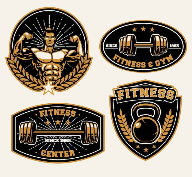 Fitness trainingscentrum badge set geïsoleerd op wit