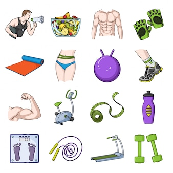 Fitness van sport cartoon ingesteld pictogram. geïsoleerde cartoon set pictogram sport oefening. illustratie apparatuur fitness.