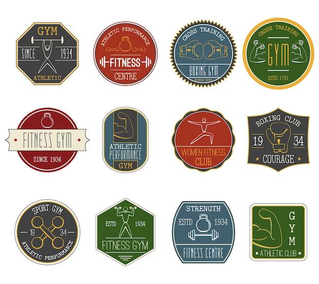 Fitness vintage etiketten instellen