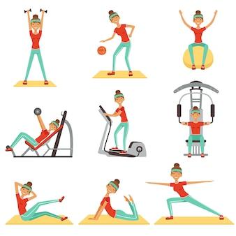 Fitness vrouw die in de gymnastiek met sportuitrustingsreeks kleurrijke illustraties uitoefenen