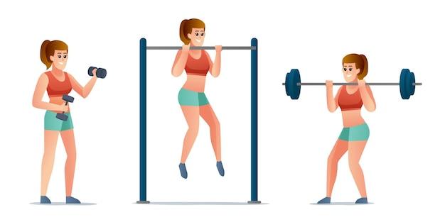Fitness vrouw doet oefening tekenset