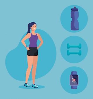 Fitness vrouw met gezond evenwicht activiteit
