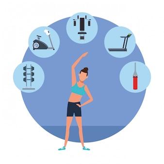 Fitness vrouw opleiding cartoon