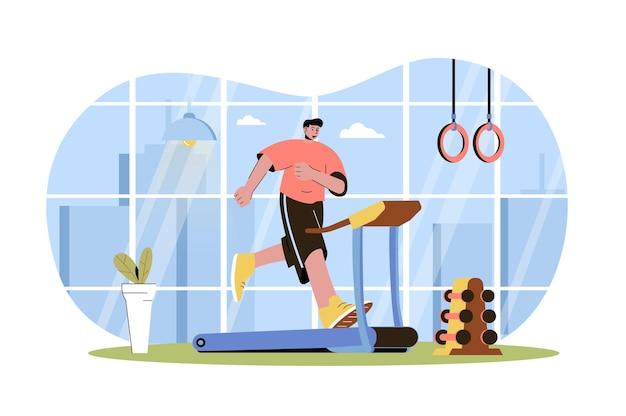 Fitness web concept man loopt op loopband atleet doet cardiotraining in sportschool sport uitoefenen