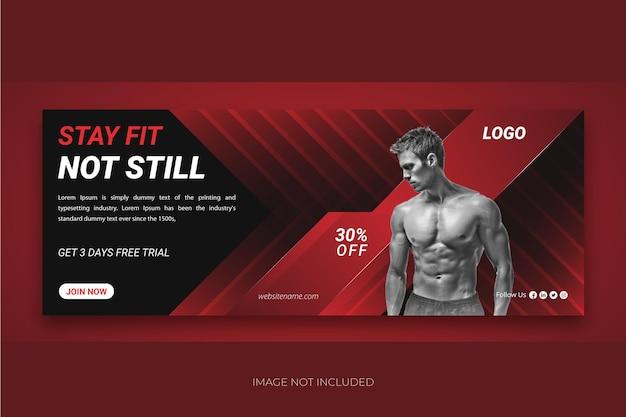 Fitness webbanner of voorbladsjabloon voor sociale media premium vector