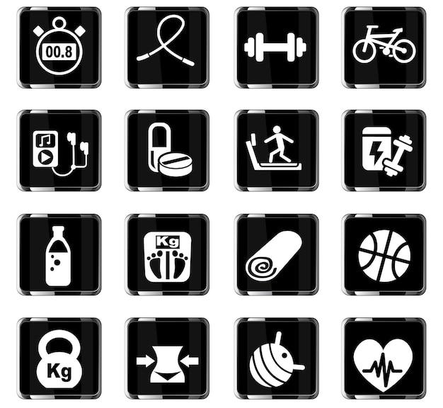 Fitness webpictogrammen voor gebruikersinterfaceontwerp