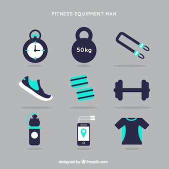 Fitnessapparatuur man in blauwe kleur