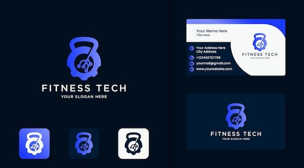 Fitnessapparatuur technologie logo ontwerp en visitekaartje